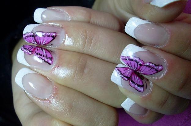 Фото дизайн бабочек ногти